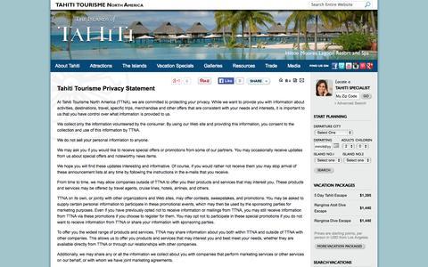 Screenshot of Privacy Page tahiti-tourisme.com - Tahiti Tourisme - Official Web Site - captured Oct. 31, 2014