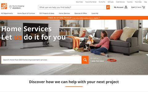 Screenshot of Services Page homedepot.com - Home Services: Install, Repair & Remodel - The Home Depot - captured May 24, 2019