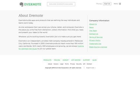 Screenshot of evernote.com - About Evernote | Evernote - captured Sept. 30, 2015