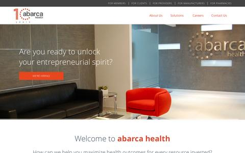 Screenshot of Home Page abarcahealth.com - abarca health - captured Feb. 5, 2016