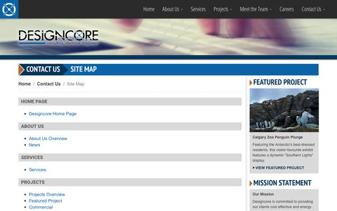 Screenshot of Site Map Page designcore.ca - Designcore Engineering Ltd. - Contact Us: Site Map - captured Oct. 8, 2018