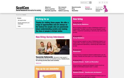 Screenshot of Jobs Page scotcen.org.uk captured Feb. 4, 2016