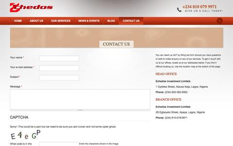 Screenshot of Contact Page echedos.com - How to Contact Echedos Investment Limited in Lagos Nigeria - captured Jan. 25, 2016