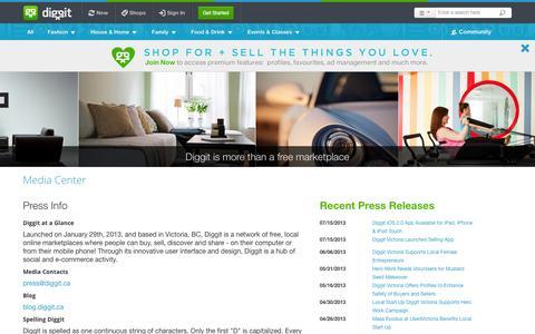 Screenshot of Press Page diggit.ca - Media Centre  - Diggit Victoria - captured Sept. 17, 2014