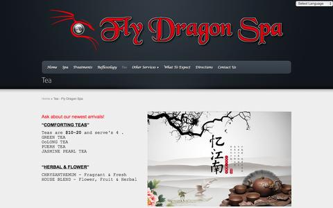 Screenshot of Menu Page flydragonspa.com - Tea - Fly Dragon Spa | Fly Dragon Spa - captured Sept. 30, 2014