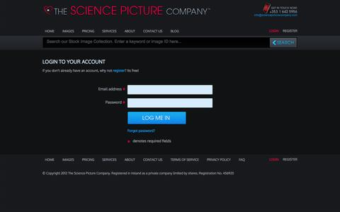 Screenshot of Login Page sciencepicturecompany.com - 3D Medical Animations & Illustrations | Stock Science Images - captured Oct. 10, 2014