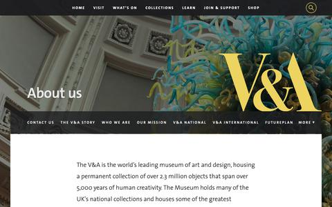 Screenshot of About Page vam.ac.uk - V&A · About us - captured Oct. 18, 2018