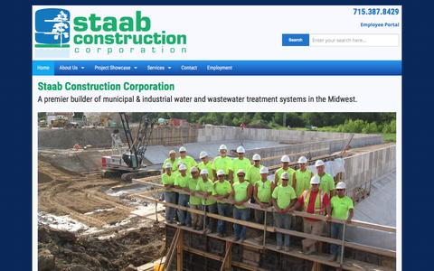 Screenshot of Home Page staabco.com - Staab Construction Corporation - captured Feb. 16, 2016