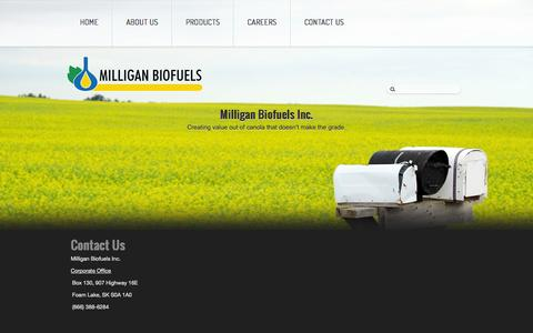 Screenshot of Contact Page milliganbiofuels.com - Contact Us - Milligan Biofuels Inc. - captured Oct. 27, 2014