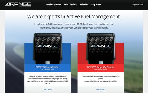 Screenshot of Home Page rangetechnology.com - Range Technology | AFM Solutions for GM Cars, Trucks & SUVs - captured Sept. 30, 2014