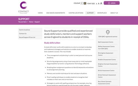 Screenshot of Support Page contact-associates.co.uk - Support - captured Oct. 2, 2014