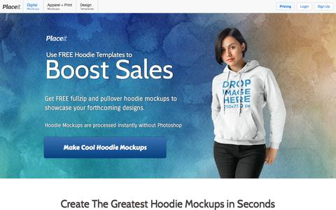 Screenshot of placeit.net - Placeit - Professional Hoodie Mockups - captured Oct. 21, 2017