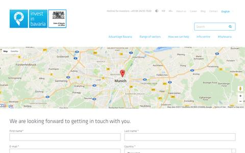 Screenshot of Contact Page invest-in-bavaria.com - Contact - Invest in Bavaria - captured April 2, 2017