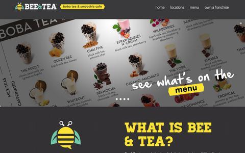 Screenshot of Home Page beeteashop.com - Start a Boba Tea Franchise! Bee & Tea - captured Oct. 10, 2017