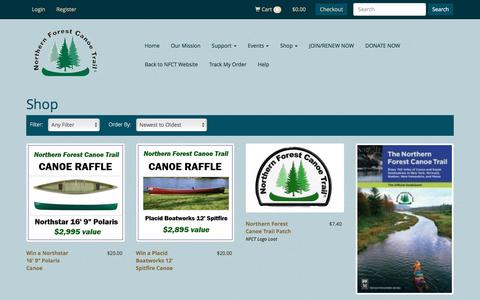 Screenshot of Products Page northernforestcanoetrail.org - Shop - Northern Forest Canoe Trail - captured Aug. 14, 2016