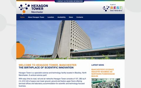 Screenshot of Home Page hexagon-tower.co.uk - Hexagon Tower, Manchester | The birthplace of science innovation - captured Sept. 22, 2015