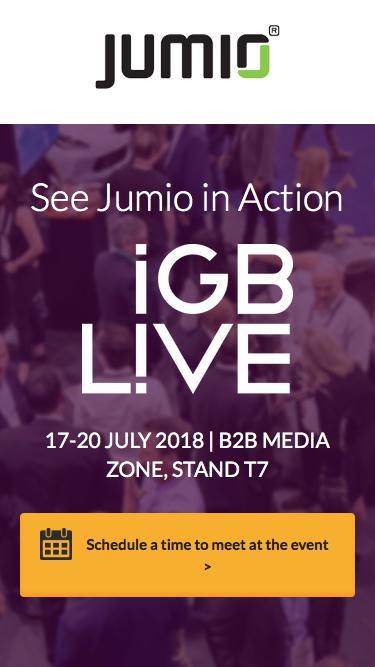 Screenshot of Landing Page  jumio.com - See Jumio in Action at iGB live 2018