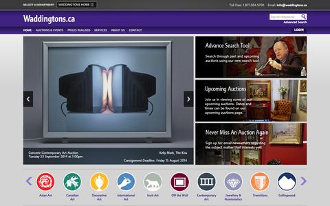 Screenshot of Home Page waddingtons.ca - Auction House, Fine Jewellery, Asian Antiques, Inuit & Canadian Fine Art - Waddington's™ - captured Sept. 19, 2014