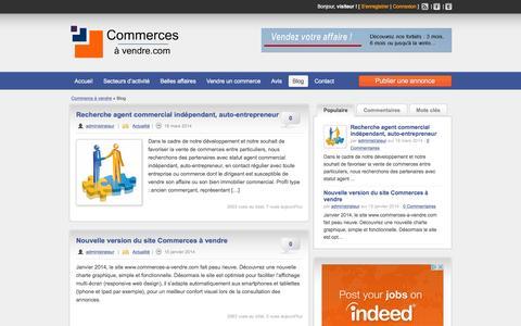Screenshot of Blog commerces-a-vendre.com - Blog - Commerces à vendre - captured March 31, 2016