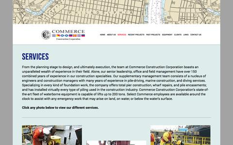 Screenshot of Services Page commerceconstruction.com - Overview — Commerce Construction - captured Nov. 2, 2014
