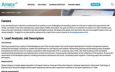 Screenshot of Jobs Page ameexusa.com - Careers | Ameexusa - captured Oct. 11, 2018