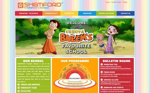 Screenshot of Home Page shemford.com - SHEMFORD School: CBSE 10+2 School | Senior Secondary School, India - captured Sept. 23, 2014