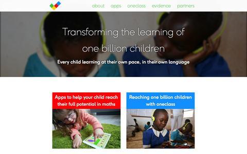 Screenshot of Home Page onebillion.org.uk - onebillion - transforming the learning of one billion children - captured Oct. 9, 2014