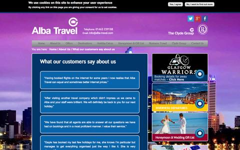 Screenshot of Testimonials Page alba-travel.com - What our customers say about us | Alba Travel - captured Oct. 4, 2014
