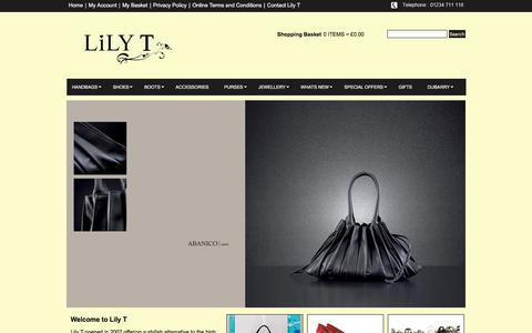 Screenshot of Home Page lily-t.com - Home | Handbags | Shoes | Accessories| Purses | Jewellery | Gifts | Lily T Limited - captured Feb. 2, 2018