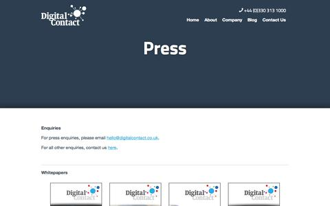 Screenshot of Press Page digitalcontact.co.uk - Digital Contact in the Press - captured Sept. 30, 2014