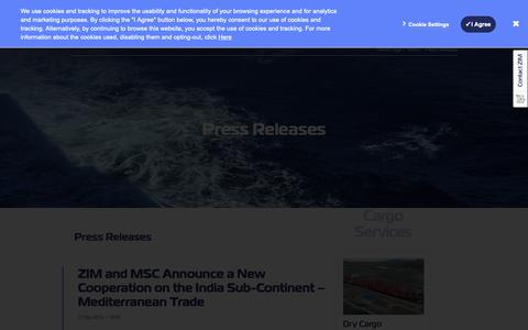 Screenshot of Press Page zim.com - Press Releases, Shipping News | ZIM - captured Oct. 18, 2018