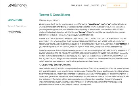 Terms and Conditions - Level Money
