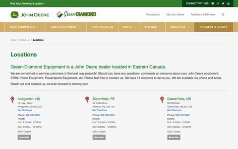 Screenshot of Locations Page green-diamond.ca - Locations - Green Diamond Equipment - captured Nov. 11, 2018
