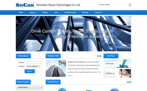 Screenshot of Home Page szsocan.com - Shenzhen Socan Technologies Co.,Ltd-hall current sensor, voltage sensor and leakage current sensor - captured Oct. 6, 2014