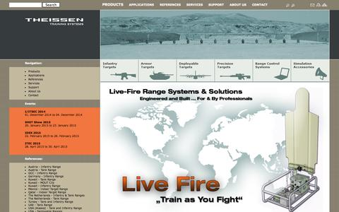 Screenshot of Home Page theissentraining.com - Theissen Training Systems GmbH ::Live Fire, Theissen, Theissen Training, target systems, outdoor shooting range, firing range equipment, LOMAH, electronic scoring, Target systems, simulation, training, LOMAH, location of miss and hit, infantry target - captured Oct. 9, 2014