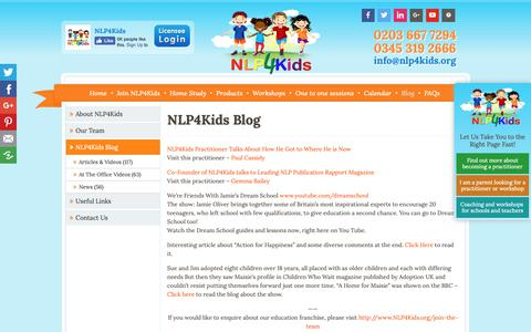 Screenshot of Blog nlp4kids.org - NLP4Kids education franchise news | NLP4Kids | Children Therapy, Child Counselling, Self Esteem - captured Oct. 18, 2018