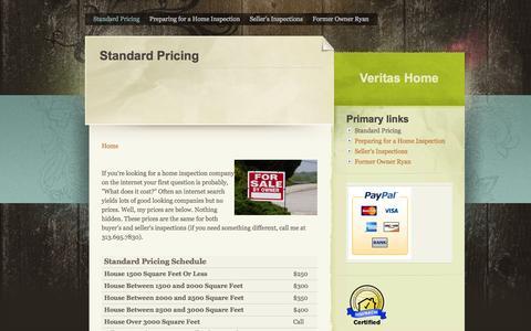 Screenshot of Pricing Page veritas-home.com - Standard Pricing   Veritas Home - captured Oct. 7, 2014