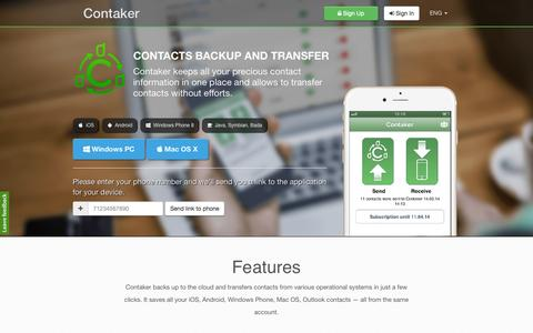 Screenshot of Home Page contaker.com - Transfer and copy contacts / Contaker - captured Oct. 12, 2015