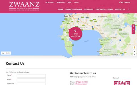 Screenshot of Jobs Page zwaanz.com - Contact Us - captured Nov. 5, 2017