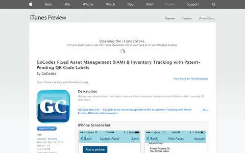 Screenshot of iOS App Page apple.com - GoCodes Fixed Asset Management (FAM) & Inventory Tracking with Patent-Pending QR Code Labels on the App Store on iTunes - captured Oct. 22, 2014