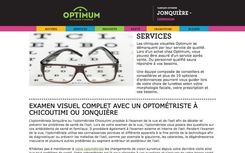 Screenshot of Services Page optimum.ca - Optométristes à Jonquière, Chicoutimi - captured Oct. 26, 2014