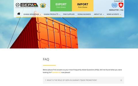 Screenshot of FAQ Page gepaghana.org - FAQ - GEPA Buyer Portal - captured Sept. 28, 2018