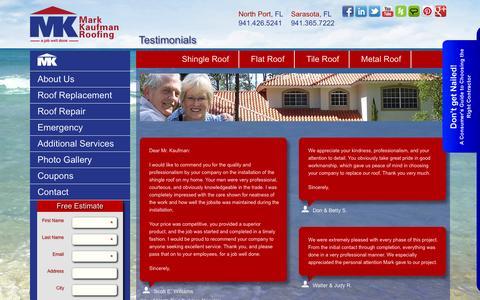 Screenshot of Testimonials Page markkaufmanroofing.com - Customer Testimonials |Mark Kaufman Roofing |Florida Roofing - captured Nov. 2, 2014