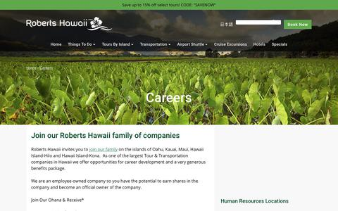 Screenshot of Jobs Page robertshawaii.com - Careers | Roberts Hawaii - captured Sept. 21, 2018