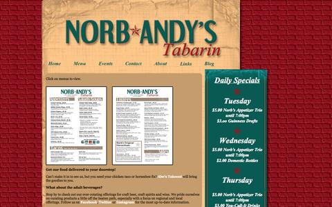Screenshot of Menu Page norbandys.com - Menu « Norb Andy's Tabarin - captured Oct. 9, 2014