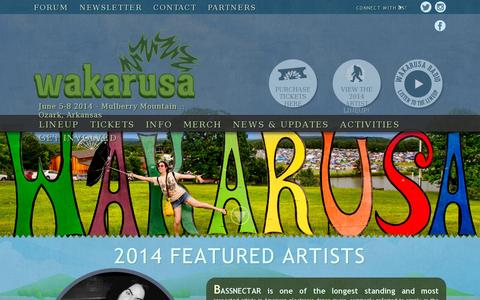 Screenshot of Home Page wakarusa.com - Wakarusa Music Festival - June 5 - 8, 2014 - captured July 17, 2014