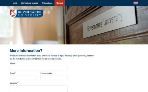 Screenshot of Contact Page governanceuniversity.nl - Contact - captured Dec. 13, 2017