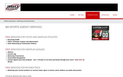 Screenshot of Services Page 360sportsagency.com - Services - captured Oct. 29, 2014