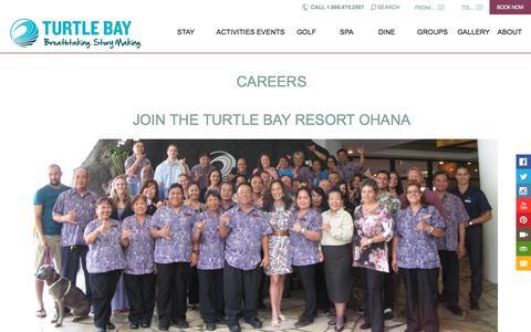 Screenshot of Jobs Page turtlebayresort.com - Careers at an Oahu Resort | Turtle Bay Resort - captured Sept. 21, 2018
