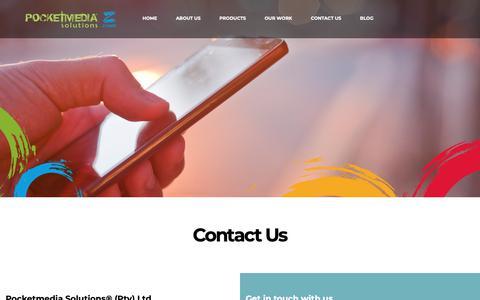 Screenshot of Contact Page pocketmedia.co.za - Contact Us   PocketMedia Solutions - captured Sept. 28, 2018